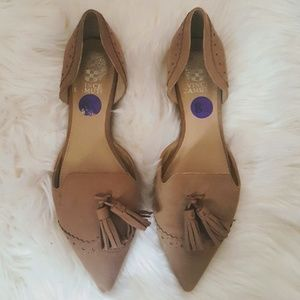 Vince Camuto Tan Suede Leather Tassle Pointed Flat